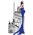 Parisian woman on a background of city vector image