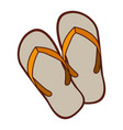 aged silhouette of beach flip-flops vector image