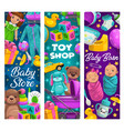 baby care toys shop cartoon kids stuff vector image vector image