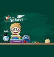 back to school concept of student with book vector image