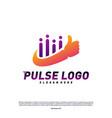 best pulse logo design concept people beat logo vector image vector image
