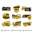 black friday badges set geometric shapes and text vector image vector image
