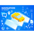 bright navigate map and car on blue backgrou vector image vector image