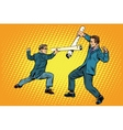 Businessmen fencing competition ideas vector image
