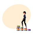 businesswoman climbing up career ladder shown as vector image vector image
