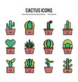 cactus icon in filled outline design for web vector image vector image