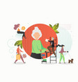 caring for elderly concept flat vector image