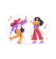 cheerful girls dancing and have fun vector image