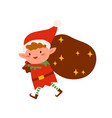 christmas elf carry bag with gifts flat vector image vector image