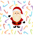 christmas santa claus with colorful candy cane vector image