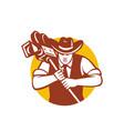 cowboy camera operator mascot vector image vector image