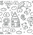 cute childrens drawings seamless pattern vector image vector image