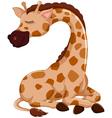 cute giraffe cartoon sleeping vector image vector image