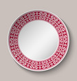 decorative dish with red and white circular vector image vector image