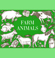 farm animals frame poster cattle and livestock vector image