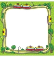Frame with funny trams and rails vector image vector image
