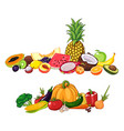 fruits and vegetables with vector image vector image