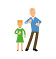 grandfather and granddaughter characters eating vector image