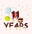 greeting card for eleven year with cake vector image vector image