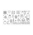 halloween outline banner horizontal vector image
