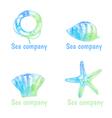 Hand drawn watercolor logos set on theme sea vector image