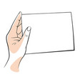 hand holding a clear white blank sheet paper vector image vector image