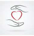 hands and heart symbol vector image