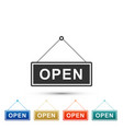 hanging sign with text open door icon isolated vector image vector image