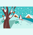 happy holidays winter landscape with firs tree vector image vector image
