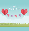 happy valentines day origami paper hearts hanging vector image vector image