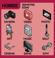 hobbie color outline isometric icons set vector image vector image