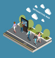 interactive map isometric design concept vector image
