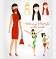 lifestyle woman with face mask in business vector image vector image
