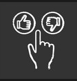 like and dislike buttons click chalk icon vector image