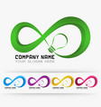 logo infinity with light lamp vector image vector image