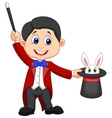 Magician cartoon pulling out a rabbit from his top vector image