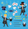 magicians with hat and playing cards and vector image