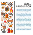 mine industry coal mining poster machinery and vector image