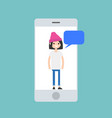 mobile concept young millennial girl chatting on vector image vector image
