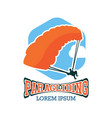 paragliding logo with text space vector image