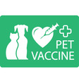 pet vaccine icon vector image vector image