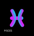 pisces text horoscope zodiac sign 3d shape vector image vector image