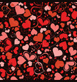 red and pink hearts seamless pattern over dark vector image vector image
