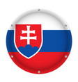 round metallic flag of slovakia with screws vector image vector image