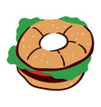sandwich with bun and vegetables dieting and vector image