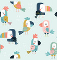 seamless childish pattern with cute parrots vector image vector image