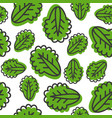 seamless pattern vegetable leaves outline icon vector image