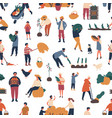 seamless pattern with people gathering crops in vector image
