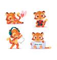 set cute baby tiger character vector image