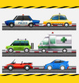 set of different car on the road vector image